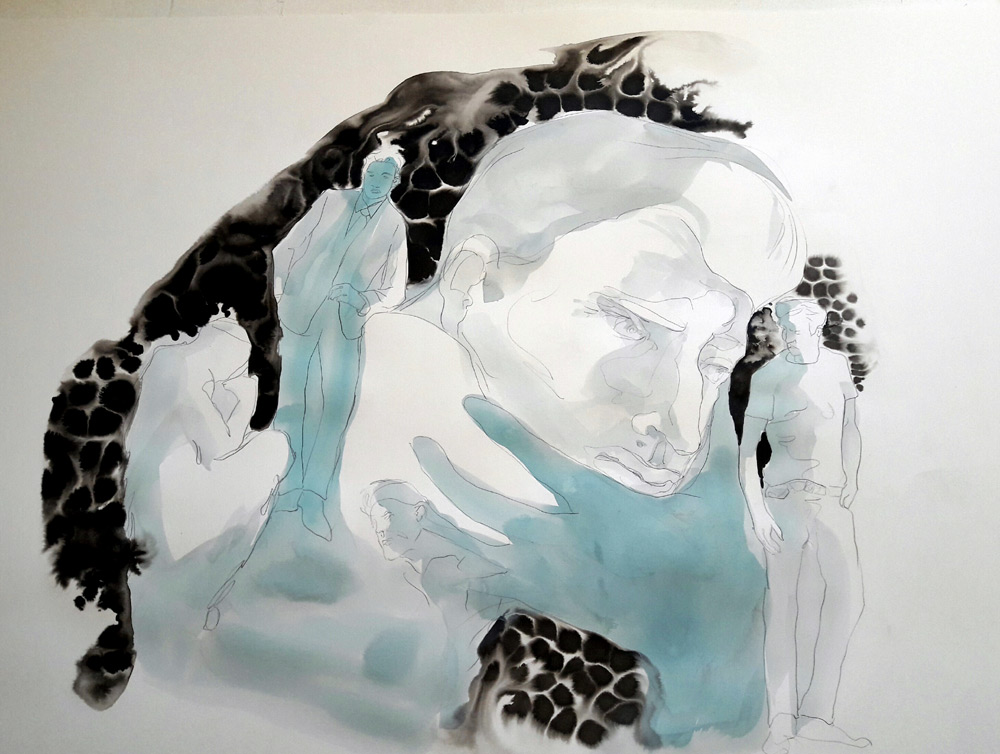 moderne-calypso, encre et gouache sur papier, 2017