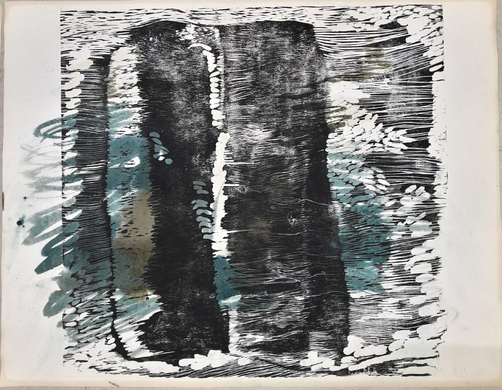 le secret des falaises, gravure sur bois, aquarelle, 65x50 cm, 2017